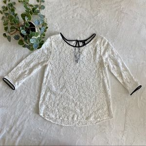 Forever 21 white lace top with black accents